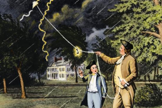 Lịch sử ra đời kim thu sét là gì? Benjamin Franklin đã thực hiện thí nghiệm sét trong khí quyển vào năm 1752)